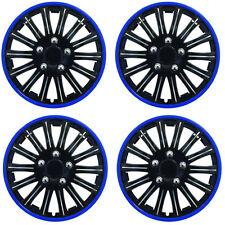 """15 """"POLLICI lluminazione SPORT ruota coperchio TRIM Set Nero Con Anello Blu RIMS (4pz)"""
