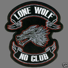 LONE WOLF BIKER PATCH   6 3/4  INCH PATCH