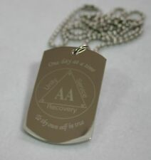 ALCOHOLICS ANONYMOUS AA RECOVERY PENDANT DOG TAG SOLID STAINLESS STEEL NECKLACE