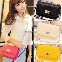 Women Ladies PU envelope clutch bag chain shoulder handbag Satchel Messenger New