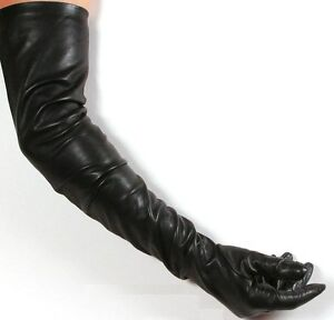 Black Lambskin Leather Opera Length Gloves - 23 inches long