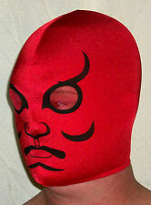 NEW RED BLACK SPANDEX KABUKI MASK PRO WRESTLING MADE IN USA