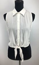 American Dream Top Size M Medium Button Down Tie Front Lace Back Sleeveless J667