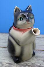 "Vintage Ceramic Cat Tea Pot Black Grey White Green Eyes 8 1/2"" Tall"