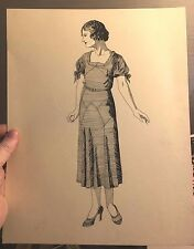 Pen & Ink Study 1920's Fashion Woman Modeling Dress Standing Art Deco Signed