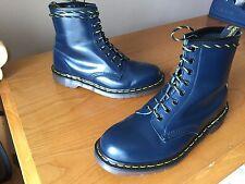Vintage Dr Martens 1460 blue navy leather boots UK 8 EU 42 skin biker England