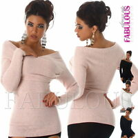 New Women's Ladies Off Bare Cold Shoulder Jumper Sexy Sweater Size 6 8 10 XS S M