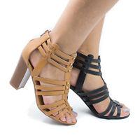 Action Open Toe High Heel Studded Huarache Dress Sandal w Stacked Block Heel
