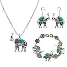 3 Piece Jewelry Set Tibet Silver Elephant Pendant Necklace Earring Hook Thailand