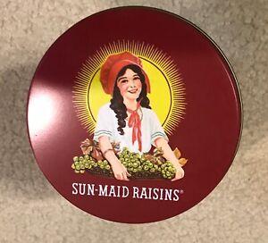 Vintage Sun Maid Raisins Round Tin w Lid Tins