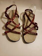 Intaglia Women's Open Toe Sandals Red Strappy Savannah Size 11WW Summer