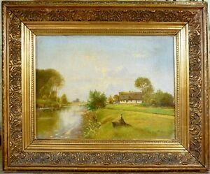 CHRISTEN LYNGBO! LANDSCAPE WITH FARMHOUSE AT THE STREAM