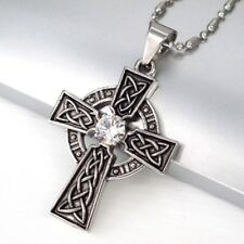 Silver Black Irish Celtic Trinity Knot Cross Pendant Mens Ball Chain Necklace