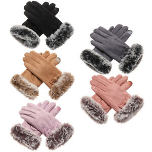 Warm Outdoor Suede Leather Women Gloves Full Finger Mittens Driving Gloves