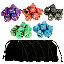 Outee 5 x 7 (35 Pieces) Polyhedral Dice and Dice with 5 Complete Dice set for