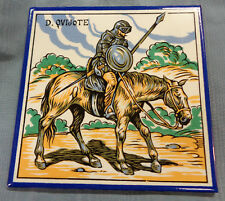 TILE D Quijote Don Quixote Made in Spain Knight Armour Shield Spear Horse Blue