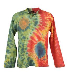 Men's Yin And Yang Tie Dye Grandad Shirt, Sizes S - 5XL Hippy Cotton Shirt