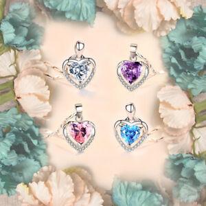 Fashion 925 Silver Aquamarine&zircon Love Heart Pendant Necklace Women Jewelry