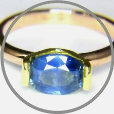 1.52ct Natural Sapphire Handmade Solid 9ct Rose/Yellow Gold Solitaire Ring vdo