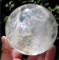 NATURAL RAINBOW CLEAR QUARTZ CRYSTAL SPHERE BALL HEALING GEMSTONE 35-40mm+STAND
