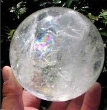 NATURAL RAINBOW CLEAR QUARTZ CRYSTAL SPHERE BALL HEALING GEMSTONE 35-40mm+STAND