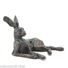 """Bronze Hare """"Lying Hare Maquette"""" Sculpture by Sue Maclaurin.  Nelson & Forbes"""