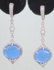 NEW $650 Judith Ripka Allure Earrings Blue Quartz MOP White Sapphire Silver Gold
