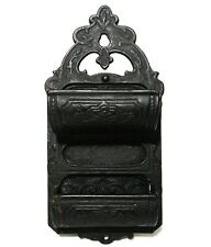 MID-19TH C AMERICAN ANTIQUE DEC STMPD CAST IRON HANGING MATCH HOLDER, PAT 1870