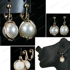 CLIP ON gold fashion EARRINGS drop big CREAM PEARL wavy metal NON-PIERCED CLIPS