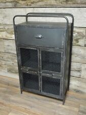 Urban Vintage Industrial Style Agred Grey Metal Storage Bedside Cabinet Table