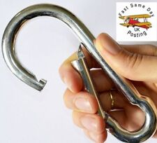 VERY LARGE SHINY 13x160mm STEEL CARABINER Spring Loaded Snap Clip Hook Clasp