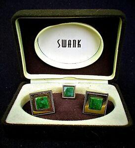 VINTAGE 1950'S JADE CUFFLINK TIE PIN SET BY SWANK - RHODE ISLAND