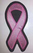 "Embroidered PINK RIBBON Breast Cancer Biker Patch 2""x4.5"" Vest Jacket MC"