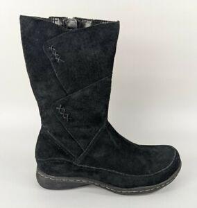Hush Puppies Black Nubuck Leather Mid Calf Boots Uk 5 Eu 38