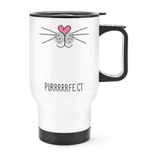 Purrfect Perfect Cat Face Travel Mug Cup With Handle - Crazy Lady Thermal Funny