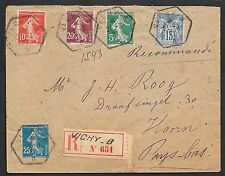 France covers 1921 VICHI-B imprinted R-Label cover to Hoorn
