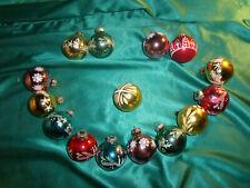 ~ Konvolut 15 alte Christbaumkugeln Glas bunt blau grün gold rot rosa weiß Kerze
