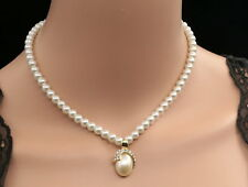 unique crystal oval cram pearl pendant beads chain necklace party jewelry U48
