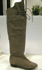 Fergie Sz 6 Designer Taupe Suede Over Knee Boots
