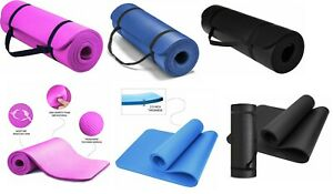 Yoga Mat for Pilates Gym Exercise Carry Strap 12mm Thick Large Comfortable NBR