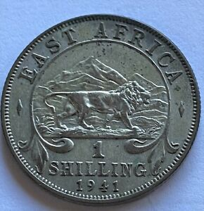 EAST AFRICA 1941-I 1 SHILLING SILVER COIN VF/XF KM28.1