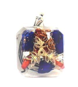 Orgonite Pendant Protection & Healing Lapis Lazuli, Coral & Silver