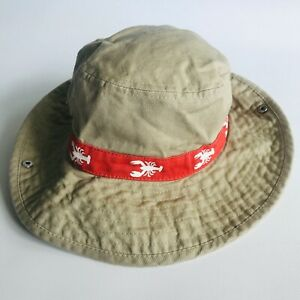 Carter's Tan Bucket Hat with Lobsters snap brim Size 12-24 Months Beach Sun
