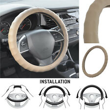 Real Leather Car Steering Wheel Cover L Size Semi Custom Fit Car SUV Truck Beige
