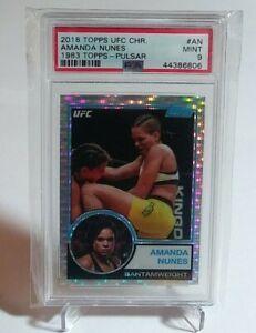 2018 Topps UFC Chrome Amanda Nunes 1983 Pulsar Refractor Graded PSA 9 MMA