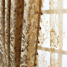 2 PCS  Luxury European Gold Color  Window Curtain Panel Damask Fabric Material