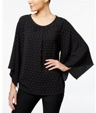 Vince Camuto Kimono Sleeve Top Blouse Pelaxed Fit Polka Dot Black XS NWT
