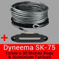 12mm X 30m Dyneema SK75 Winch Rope + Aluminium Fairlead - Synthetic Recovery 4x4