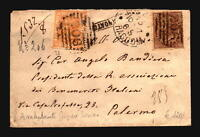 Italy 1868 Cover to Palermo w/ Better Stamps & Marks - Z17909