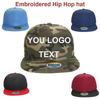 Personalised Custom Embroidery Logo/TEXT Hip-Hop Snapback Flat Hat Visor Cap